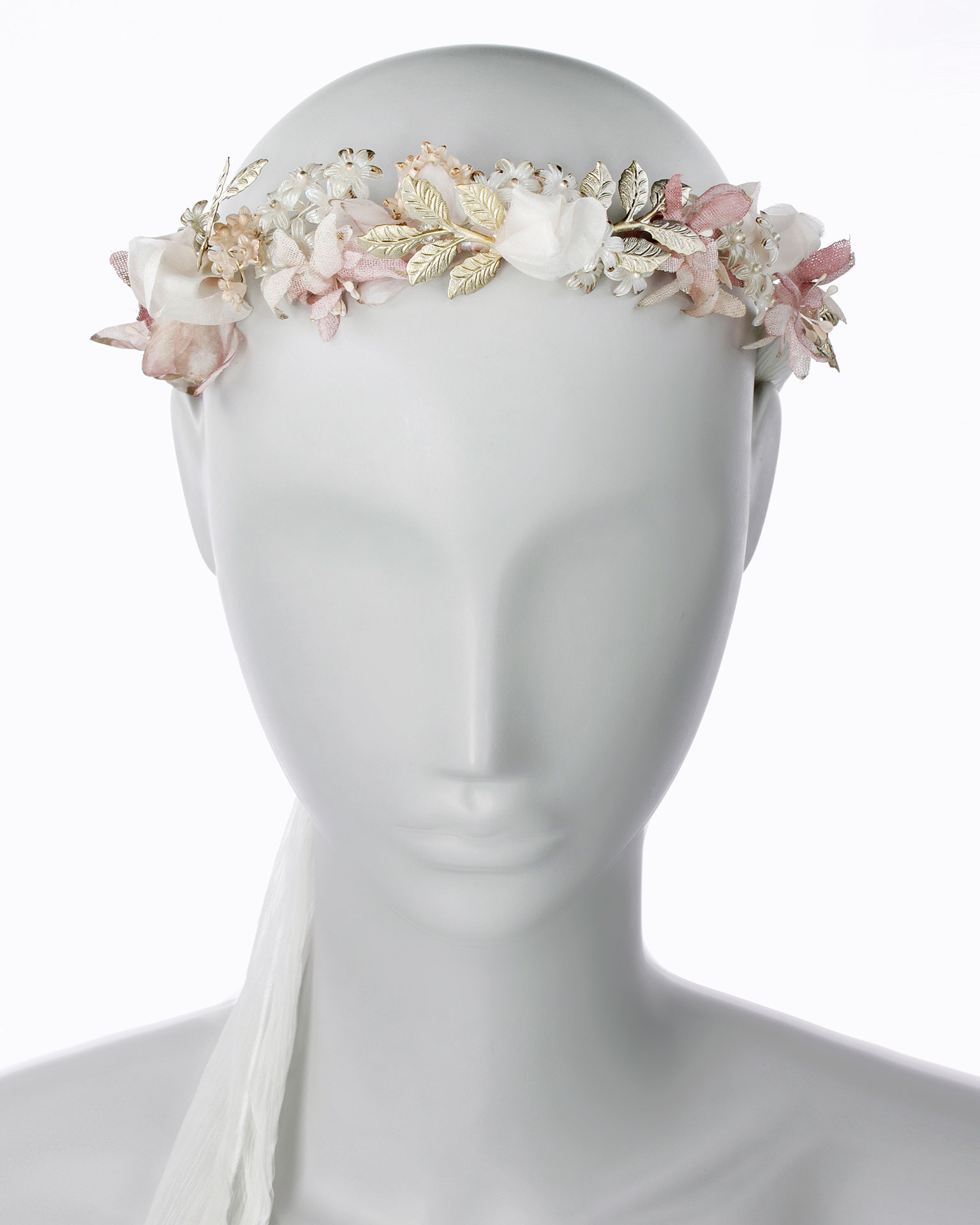 Bridal headpiece with flowers. With strips of chiffon. Available in pink/natural. 2019 MARTHA_BLANC Collection.