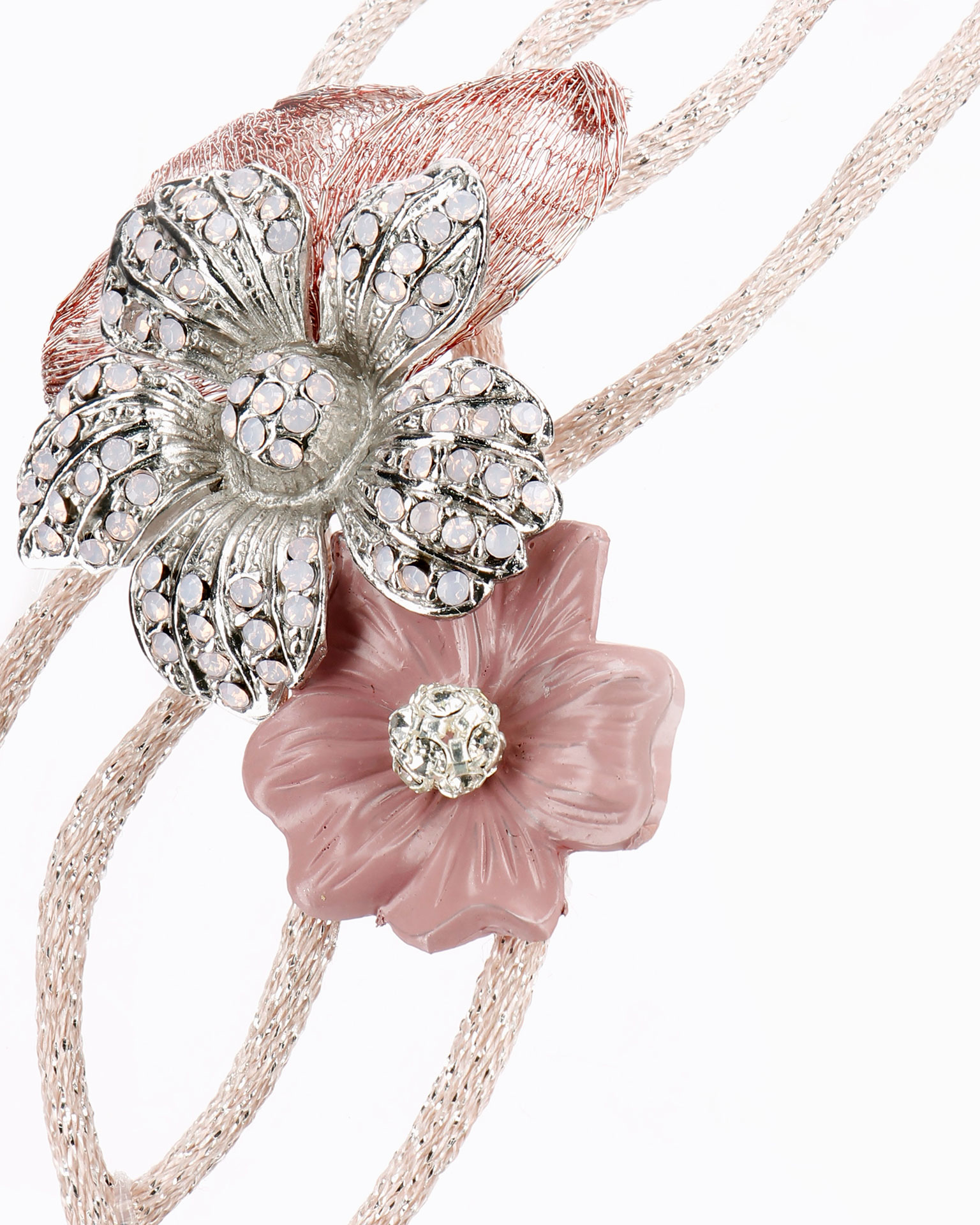 Coated wire bridal tiara with beadwork flower. Available in pink. 2019 MARTHA_BLANC Collection.