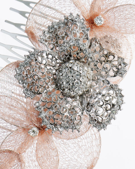 Bridal mantilla comb with metal metallic thread flowers and crystal detail. Available in blue and pink. 2019 MARTHA_BLANC Collection.