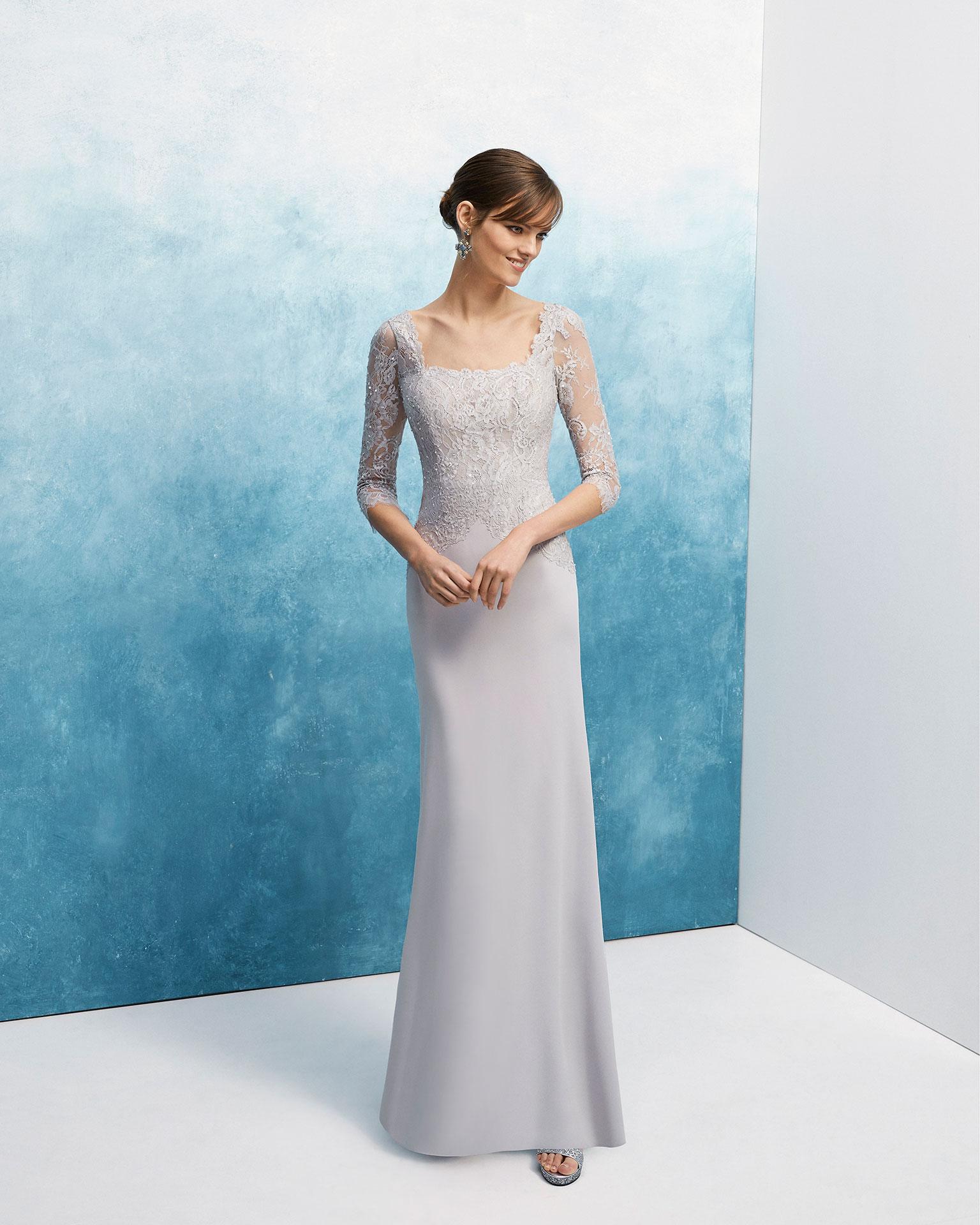 珠饰绉绸蕾丝鸡尾酒会礼服。方领七分袖配蕾丝后背设计。 AIRE_BARCELONA_FIESTA 新品系列 2019.