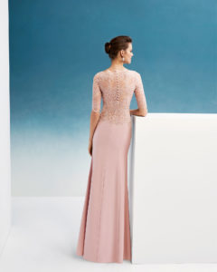 Beaded crepe and lace cocktail dress. With bateau neckline and  three-quarter sleeves. ce14bd73a