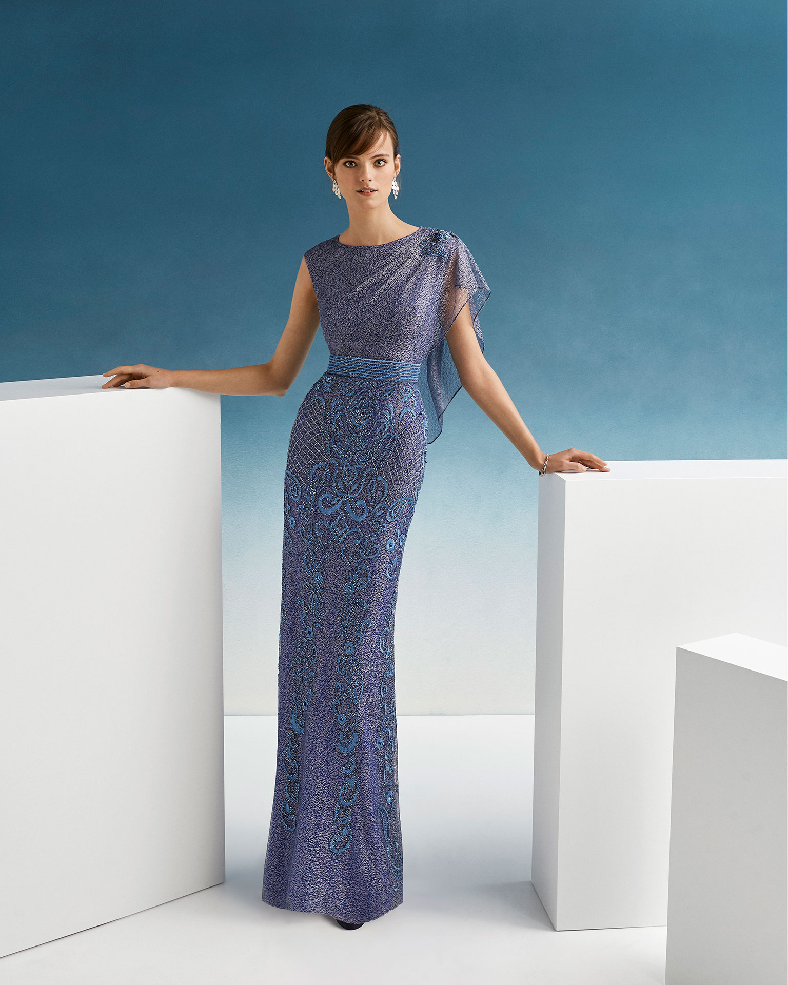 454d1d3cb4c9b Beaded cocktail dress. With mesh bodice with single diaphanous sleeve and  beaded skirt. 2019