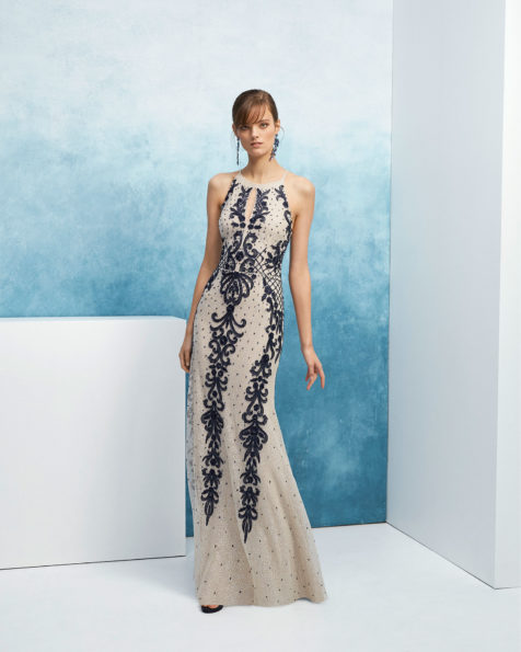 2019 Beaded cocktail dress. With halter neckline with front teardrop  opening and shoulder straps. 2019 7bb3c0be1